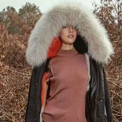 OZLANA 皮草大衣BLACK / CAVIARE FOX️  内衬鱼子酱橙色 黑色 包邮仓 XL