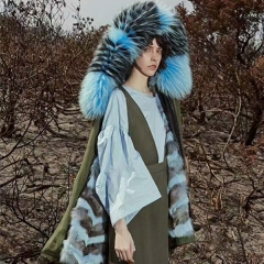 OZLANA 熊猫系列皮草大衣GREEN/BLUE FOX(狐狸毛内胆+貉子毛领) 蓝色 包邮仓 X