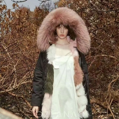OZLANA 皮草大衣Creamy pink Fox(狐狸毛内胆+貉子毛领) 黑色 包邮仓 XL