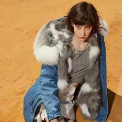 OZLANA 皮草大衣 DENIM+GREY FOX ALLSTAR(狐狸毛内胆+貉子毛领) 蓝色